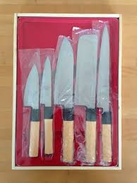 amazon com japanese kitchen knife set of 5 wooden box case mr
