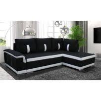 canape convertible noir et blanc comforium canapé d angle convertible à 3 places en tissu noir et