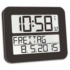 wall mounted digital alarm clock buy tfa day date digital alarm wall or table clock black 26cm