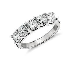 cushion diamond ring classic cushion cut five diamond ring in platinum 2 ct tw