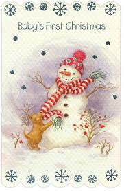 snowman u0026 puppy baby christmas card by freedom greetings