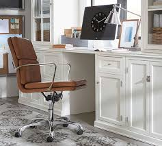 Armchair With Desk Nash Leather Swivel Desk Chair Pottery Barn