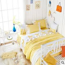 Yellow Bedding Set Sweet Light Yellow White Duvet Cover Bedding Set
