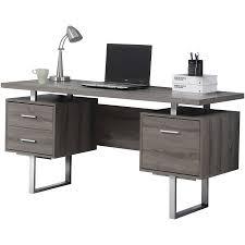 A Computer Desk Monarch Computer Desk 60 L Taupe Silver Metal Walmart