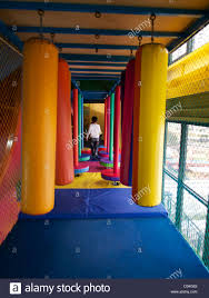 children u0027s playroom child runs through some padded bumpers in a