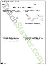 daily maths word problems year 3 worksheets teaching resource