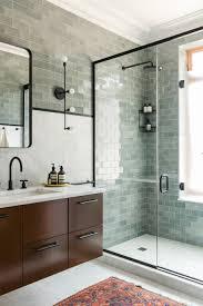salle de bain vert d eau szarozielone płytki ścienne typu metro bathroom pinterest
