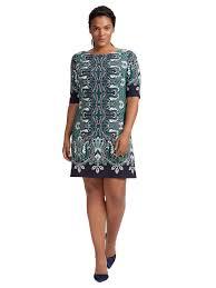 shift dress eliza j sleeves shift dress in navy and green print