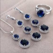 sapphire necklace set images Jewelry nwt elegant blue sapphire necklace set earrings poshmark jpg