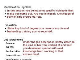 bartender resume template bartender resume sample no experience
