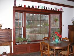 bay window pics with charming brown wooden window frame and simple
