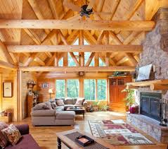 log cabin living living room rustic with stacked stone fireplace