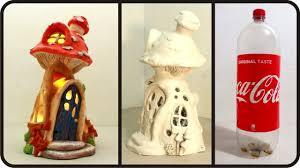 Outdoor Mushroom Lights by Diy Mushroom Fairy House Lamp Using Coke Plastic Bottle Youtube