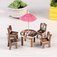 umbrella table and chairs 1set miniature furniture doll ornaments wooden mini dining room