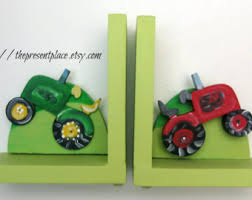 personalized bookends baby tractor bookends etsy
