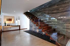 stone wall glass house floor plans that can be decor with wooden