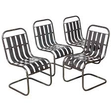 Garden Chairs Set Of Four Industrial Steel Spring Side Chairs Circa 1930 For