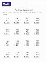 3 digit math worksheets worksheets