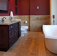 travertine bathroom tiles with dark red walls travertine