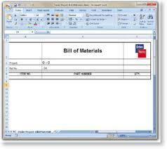 Bom Template Excel Bom To Microsoft Excel Driveworks Documentation