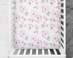 Pink Floral Crib Bedding Floral Crib Sheet Etsy