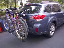 purple subaru outback anyone with thule raceway bike rack on gen 4 subaru outback