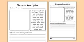 character profile writing template characters writing