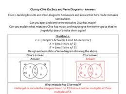 clumsy clive on sets and venn diagrams by alutwyche teaching