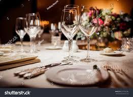 Table Settings For Dinner Empty Glasses Restaurant Table Setting Celebration Stock Photo