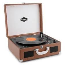auna peggy sue retro brown vinyl record player suitcase briefcase