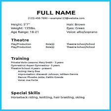 acting resume examples for beginners beginners resume examples