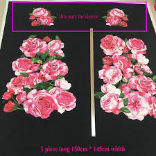 polyester soft linen dress fabric sicily rose flowers print thick
