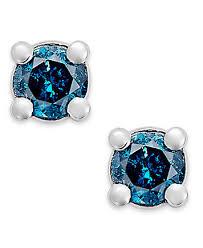 blue diamond stud earrings 10k white gold blue diamond 1 10 ct t w stud earrings