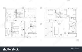 Architecture Floor Plans Black White Floor Plans Modern Apartment Stock Vector 395421235