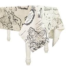 thanksgiving table cover cotton linen fabric world map tablecloths with stain
