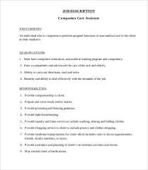 Caregiver Job Description For Resume Caregiver Job Description Templates 9 Free Pdf Format Download