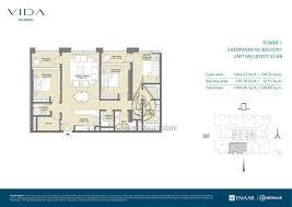 3 bedroom unit floor plans plan vida zaabeel 3 bedroom unit 9