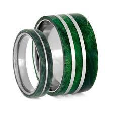 titanium band green box elder burl wood wedding band set green titanium rings