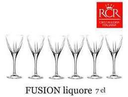 bicchieri a calice set 6 calici fusion rcr liquore 7 cl bicchieri amaro calice