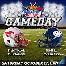 memorial mustangs football memorial mustangs vs nimitz cougars broadcast
