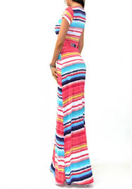 cross front colorful strip maxi dress shop women u0027s clothing