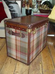 antiques atlas vintage leather and mulberry tartan trunk