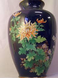 Enamel Vase 8358 Japanese Cloisonne Enamel Vase With Chrysanthemums For Sale