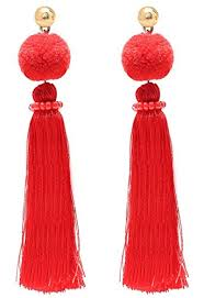 thread earrings vk accessories pom tassel dangle earrings