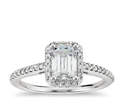 engagement rings emerald cut emerald cut halo diamond engagement ring in platinum blue nile