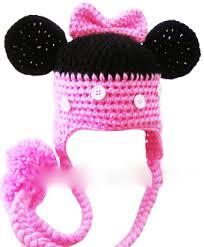 pink black minnie mouse crochet hat