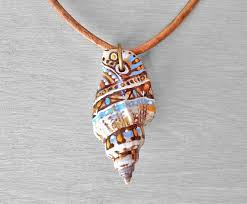 necklace with shell pendant images Painted shell necklace hand painted sea shell pendant on leather jpg