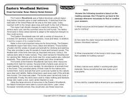 reading comprehension 4th grade eastern woodland natives 4th grade reading comprehension worksheet