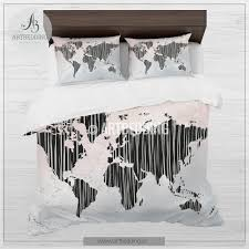 boho chic duvet set world map blush pink and gray bedding world
