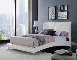 Bedroom Furniture Logan King Upholstered Platform Bed With Arched Rails By Standard